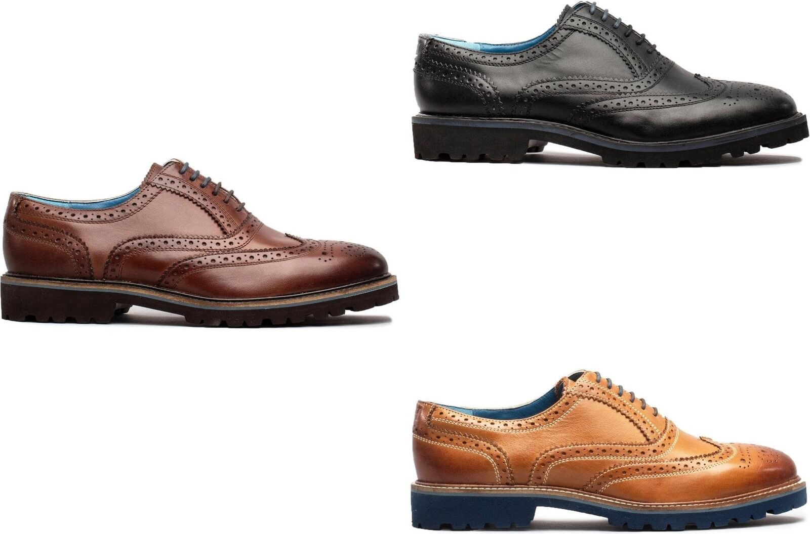 Oswin Hyde BOSTON Mens Leather Oxford Traditional Brogue Lace Up Smart schuhe