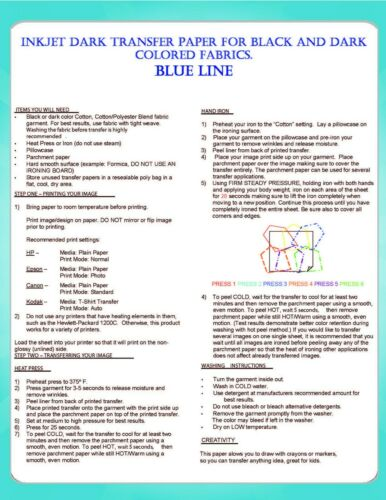 Iron on Blue Line Heat Transfer Paper for Dark Garments 25 Sheets 8.5x11