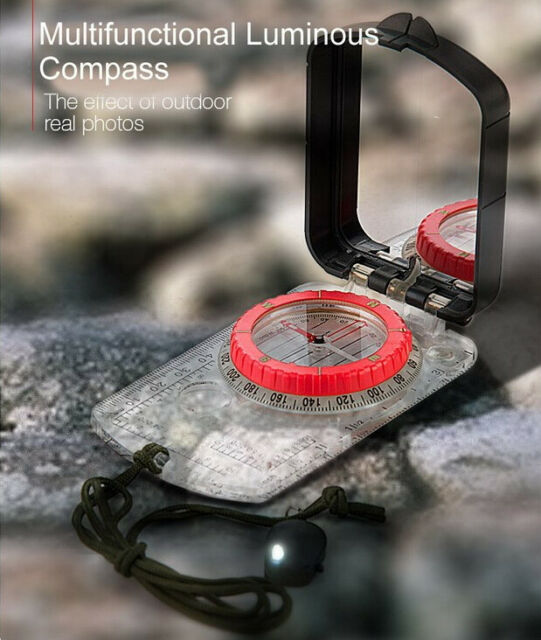 Military Lensatic Prismatic Compass with Pouch Hiking Scout Army Geology Camping