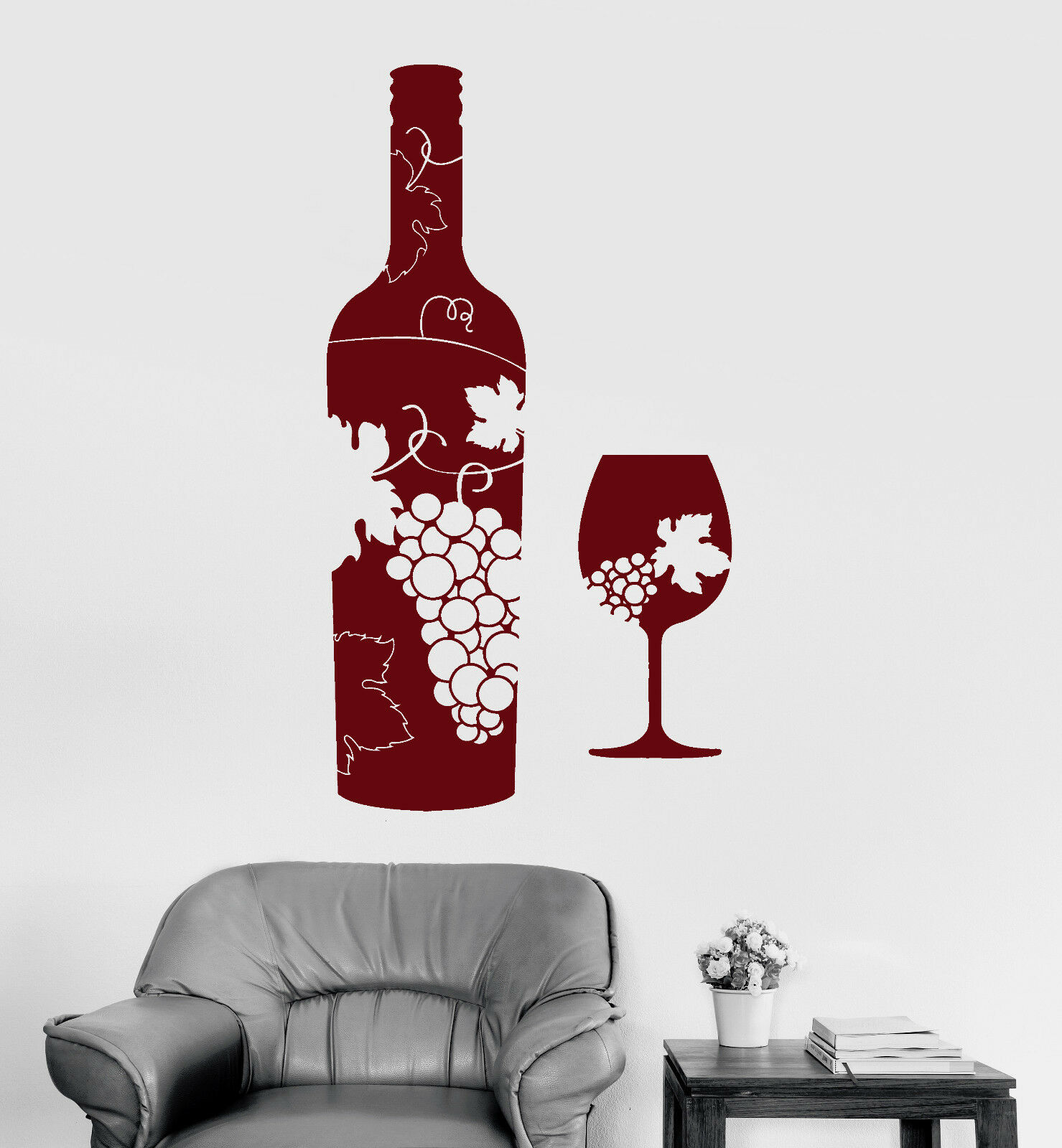Vinyl Wall Decal Wine Bottle Glass Grapes Bar Alcohol Stickers Mural (ig4173)