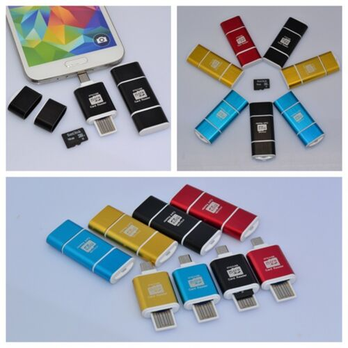 OTG /& USB 2.0 Micro USB Micro SD HC Memory Card Reader For Cell Phone Tablet PC