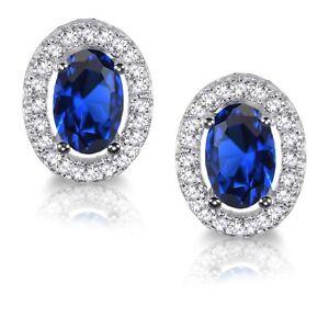 Blauer-Saphir-Oval-Kuenstlicher-Diamant-Halo-Sterling-Silber-Ohrstecker
