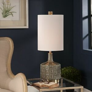 Details about Mid Century Modern Glazed Ceramic Table Lamp Living Room  Bedroom Dining Lighting