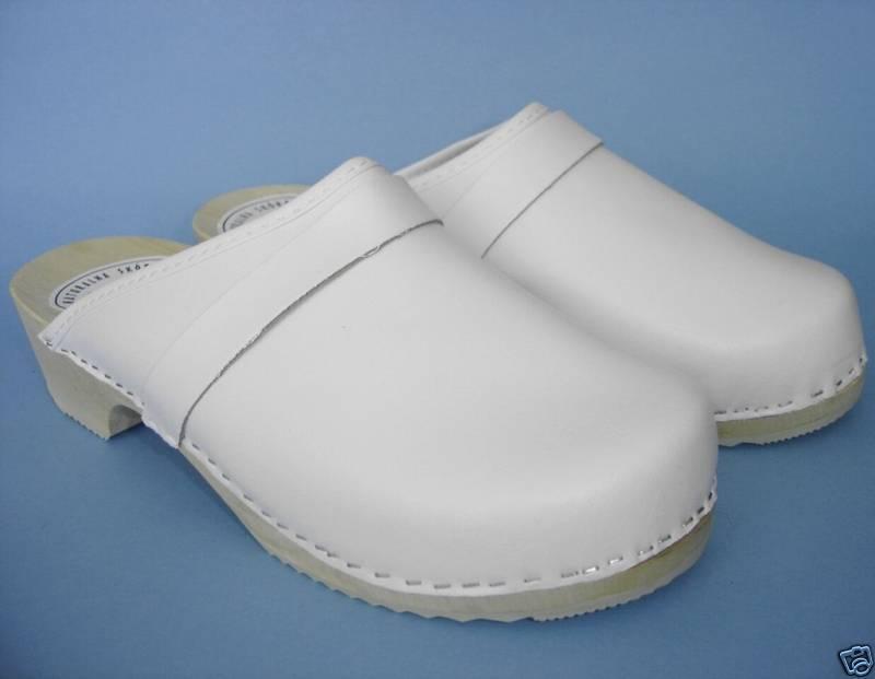 HOLZ (e) CLOGS - Holz Pantolette (Made Gr.36, Weiß,  LEDER, (Made Pantolette in Poland 3-6-4-77) 8bf760