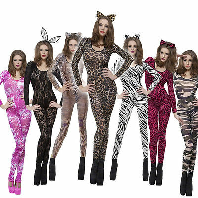 Women/'s Cat Suit Fancy Dress Cheetah Leopard Tiger Rave Hen Party Dance Club Fun