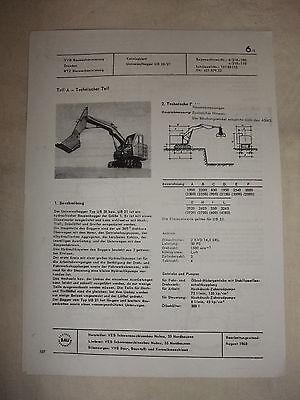 Hell Ddr Werbung Reklame Prospekt Datenblatt Universalbagger Ub 20/21 Veb Nobas 1968 Business & Industrie