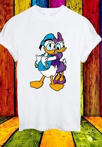 DISNEY-DONALD-DAISY-DUCK-CARTOON-MOVIE-Animale-Divertente-Uomini-Donne-Unisex-T-shirt-646
