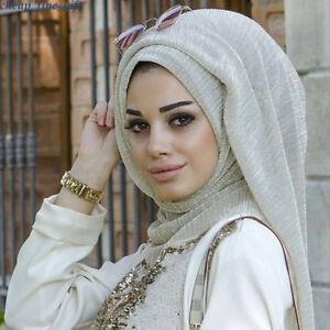 e1de8b21a6f8 Women s Shimmer Pleated Scarves Hijab Scarf Muslim Shiny Crinkle ...