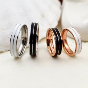 18K-Rose-Gold-Silver-Double-Layer-Band-Men-Women-White-Black-Enamel-Ring-Sz-4-10