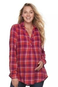 NWT-A-glow-Maternity-Blouse-Flannel-Plaid-Red-Multi-Color-Sz-Large