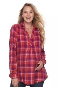 NWT-A-glow-Maternity-Blouse-Flannel-Plaid-Multi-Color-Sz-Large