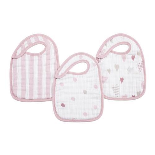 Aden+Anais 100/% Cotton Muslin 3Pk Classic Baby Toddler Snap Bibs Saliva Towel