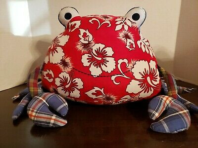 Pottery Barn Kids Crab Pillow Red White Hibiscus Floral