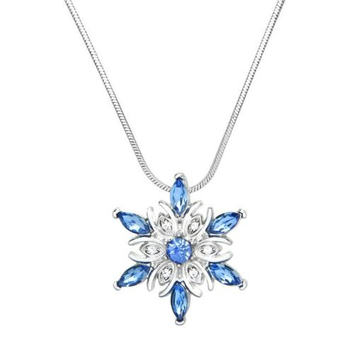"""18/"""" Chain Sparkling Crystal Snowflake Charm Pendant Necklace 2 Colors"""