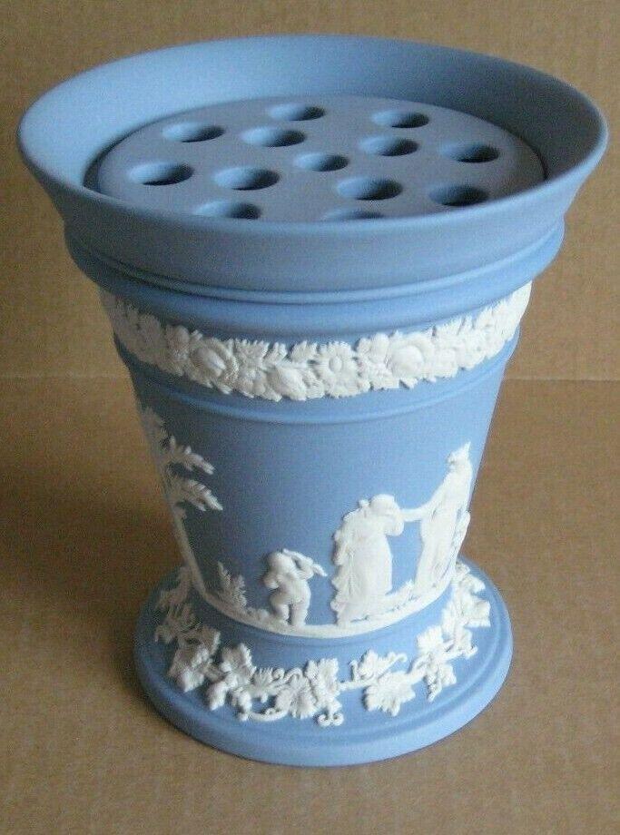 Image 2 - Wedgwood Jasperware Blue Flower Vase with Frogger