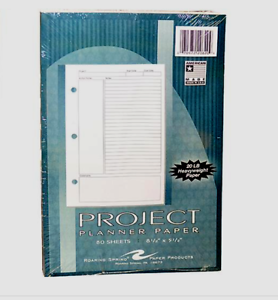 Roaring Spring Project Planner Paper, 8 1/2 x 5 1/2, Wh