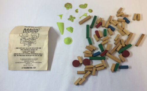 1960's building toy Toplay MAGIC WOOD pieces winstructions missing a corner