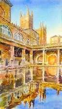 """Nuevo Y Original Alan Reed """"Abadía de Bath y baños romanos"""" Gothic Acuarela Pintura"""