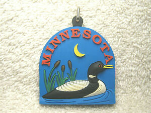 "MINNESOTA RUBBER 2 3/8"" SOUVENIR KEYCHAIN - LOON - LAKE - CATTAILS - MOON - NICE"