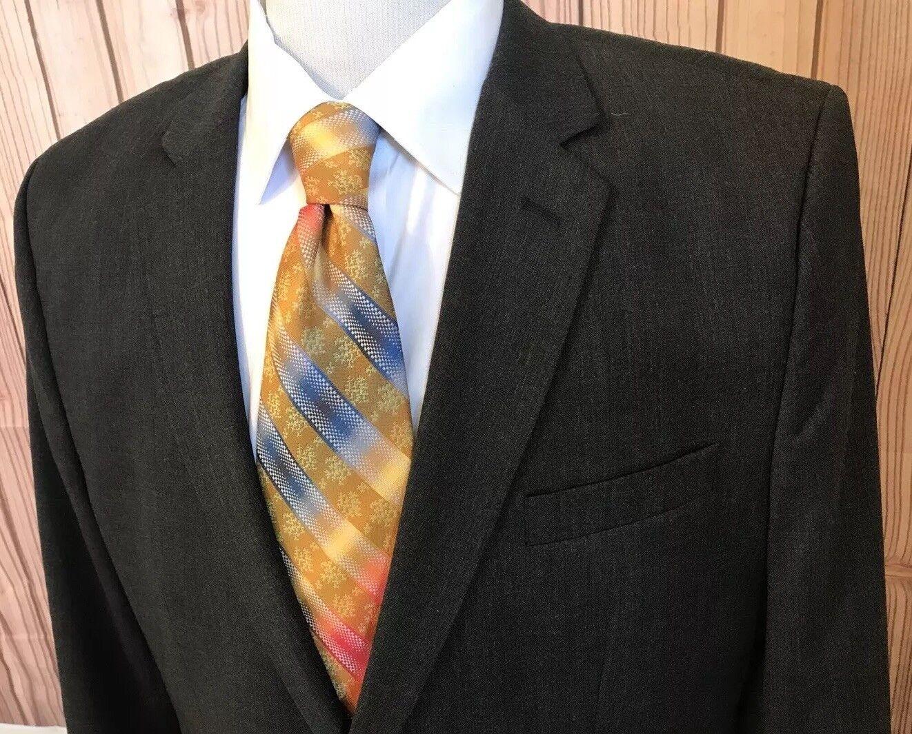 BANANA REPUBLIC TailoROT Slim Fit Sport Coat Blazer grau Sz 46R Wool Polyester