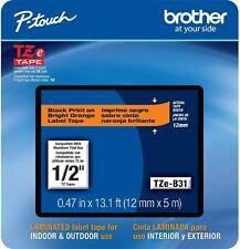 Genuine Brother Tze B31 P Touch Label Maker Tape Tzeb31 Tzb31 Tz B31 Blk Orange