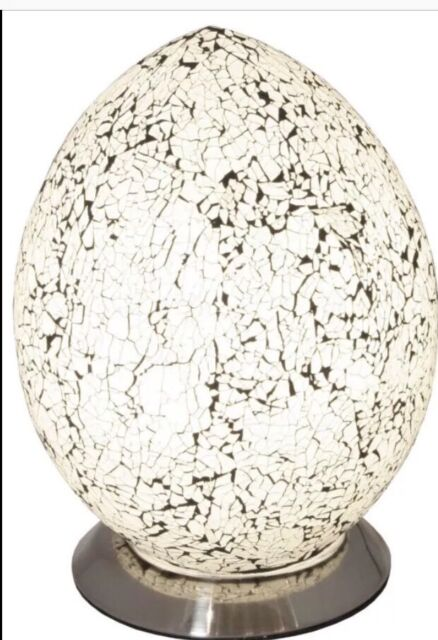 Large Mosaic Crackle Glass White Egg Table Lamp/Bedside/perfect Gift