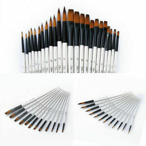 12X-Cepillos-artista-de-pelo-para-Acuarela-oleo-Pintura-set-Arte-nylon-Pinceles