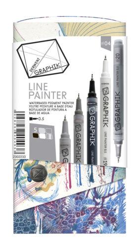 #2 Derwent Graphik Line Painter Pen Wallet of 5 Colours Sets #1 #3 or #4