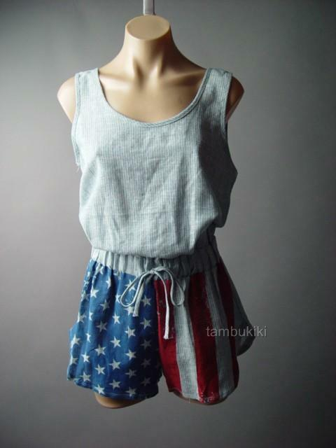 American US Flag Star Pin Stripe Shorts Chambray Jumper Playsuit 93 ac Romper S