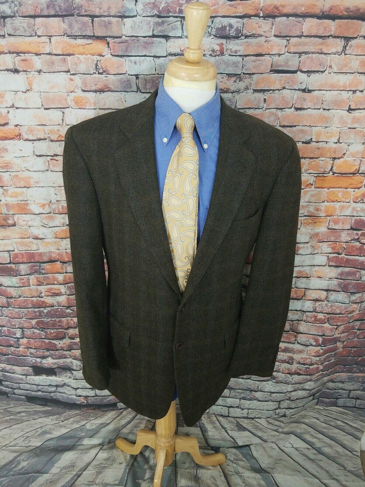 Angelo Nardelli  42L Green Herringbone Plaid Tweed WOOL Sport Coat Blazer
