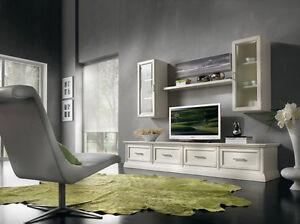Parete attrezzata sospesa soggiorno laccata bianco anche for Parete attrezzata cornice sospesa