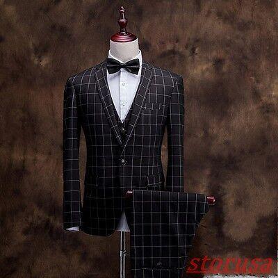 Mens Slim Fit Two Button 3Pcs Suits Plaids Check Groom Wedding Dress Formal Suit