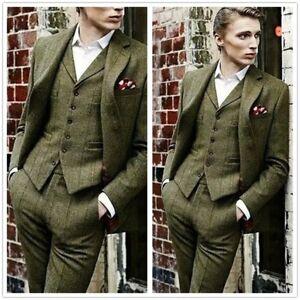 2018-Olive-Green-3-Pieces-Tweed-Men-039-s-Suit-Slim-Fit-40-42-44-46-48-Custom-NEW
