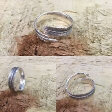 Feather 925 Sterling Silver Adjustable Ring Size 6 to 9 Oxidise Style