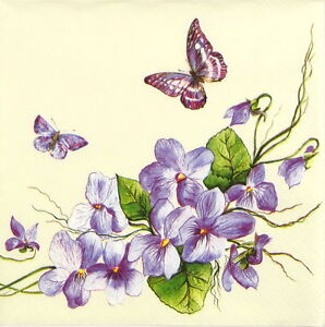 4x-Single-Table-Party-Paper-Napkins-for-Decoupage-Craft-Vintage-Purple-Butterfly