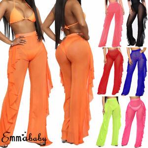US-Fashion-Women-039-s-See-Through-Sheer-Mesh-Ruffle-Swimsuits-Beach-Cover-up-Pants