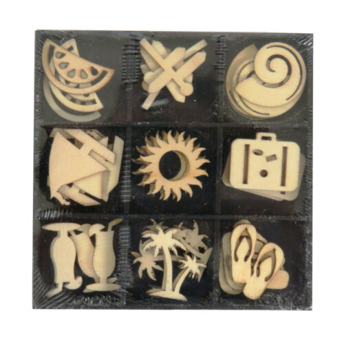 36 Pack 4 Themes 9 Designs Craft Sensations Decorative Wooden Figures