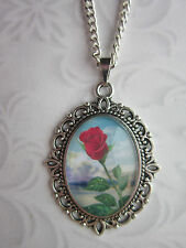 Red Rose Vintage  glass cabochon pendant charm necklace oval antique silver .