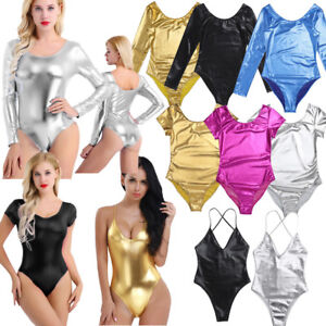 Womens-One-piece-Thong-Monokini-Bodycon-Ballet-Dance-Gymnastics-Leotard-Bodysuit