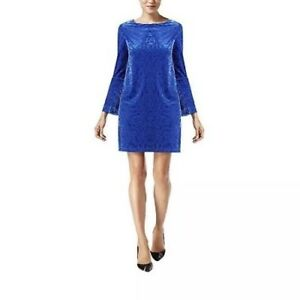 c0d935f3640 eci New York Women s Blue Velvet Bell Sleeve Burnout Shift Dress-M ...