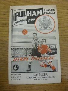 17-09-1960-Fulham-v-Chelsea-Creased-Folded-3-034-Split-On-Spine-Footy-Progs-B