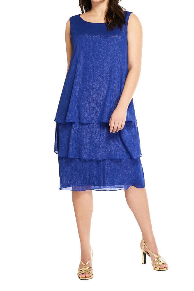 MARINA RINALDI  para Mujer Vestido Azul dicoreo en capas Shimmer  645 Nuevo con etiquetas  mejor oferta