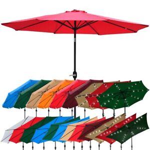 Outdoor-Patio-Umbrella-Aluminum-8ft-9ft-10ft-13ft-Common-LED-Option-Beach-Garden