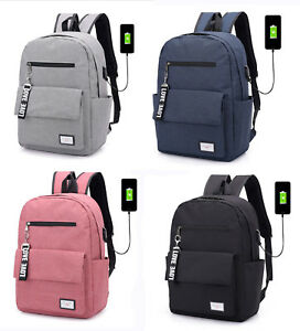 Men-039-s-Woman-039-s-USB-Charging-Laptop-Backpack-Travel-Common-School-Bag-black-pink
