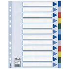 10 X ESSELTE 15262 Plastikregister blanko A4 PP 12 Blatt Farbig