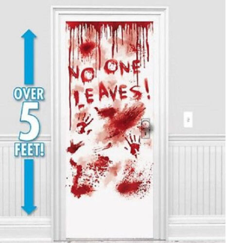 HALLOWEEN party Scene Setter NO ONE LEAVES wall door poster 5/' bloody handprints