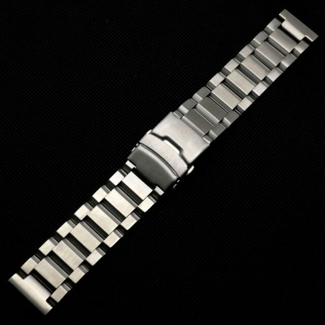 18/20/22/24mm Silver Solid Stainless Steel Watch Band Fold over clasp safety