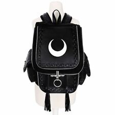 Restyle White Crescent Moon Occult Witch Gothic Black Backpack Bag