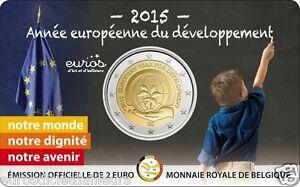 Coincard-2-euros-commemorative-BELGIQUE-2015-Annee-Europeenne-du-developpement
