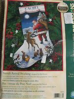 Dimensions Cross Stitch Stocking Kit Santa's Arrival Deer Animals Opened